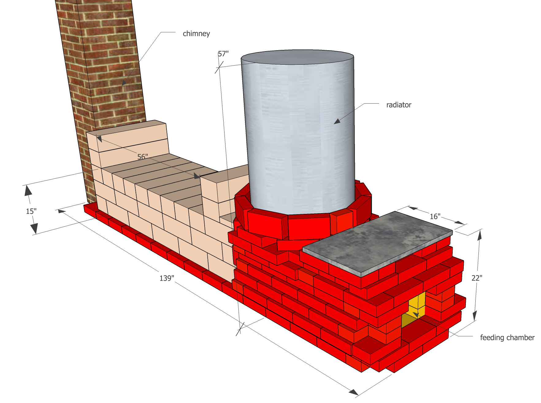 Rocket Mass Heater built with bricks and rock blocks